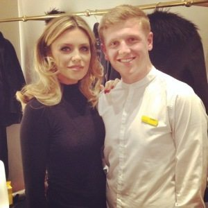 Model Abbey Clancy with Peter Marcus stylist James